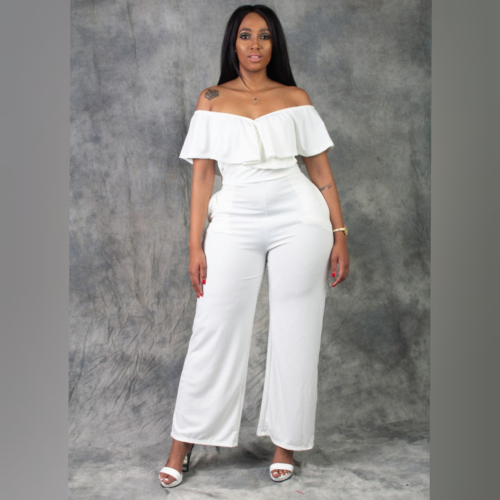 Offshoulder wide leg jumper