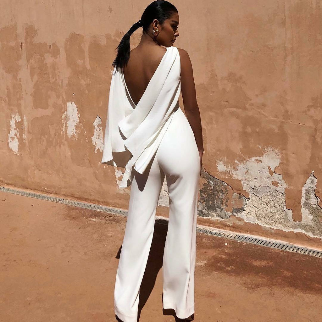Elegant White Cocktail Jumpsuit