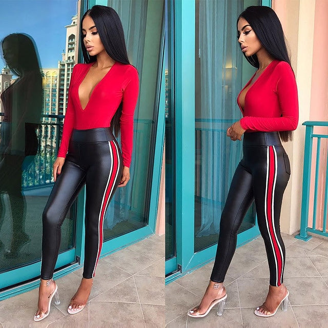 Sexy pu leather red stripe pants and matching top