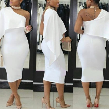 Single shoulder waterfall dress