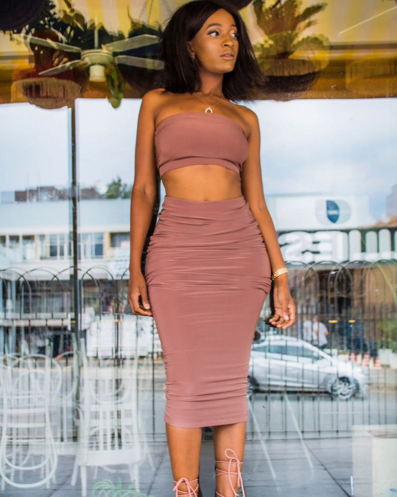 Crop and midi skirt set