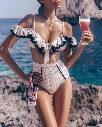 Ruffle off shoulder high waist bikini