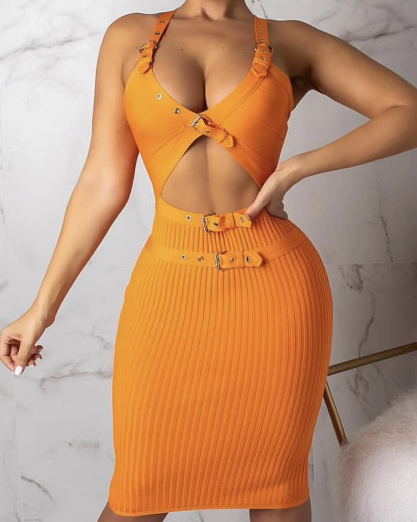 Sexy buckle bandage dress