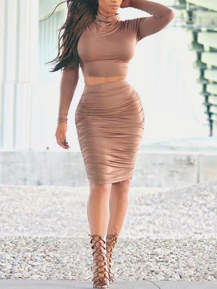 Turtle neck crop top set with side gathered double layered skirt