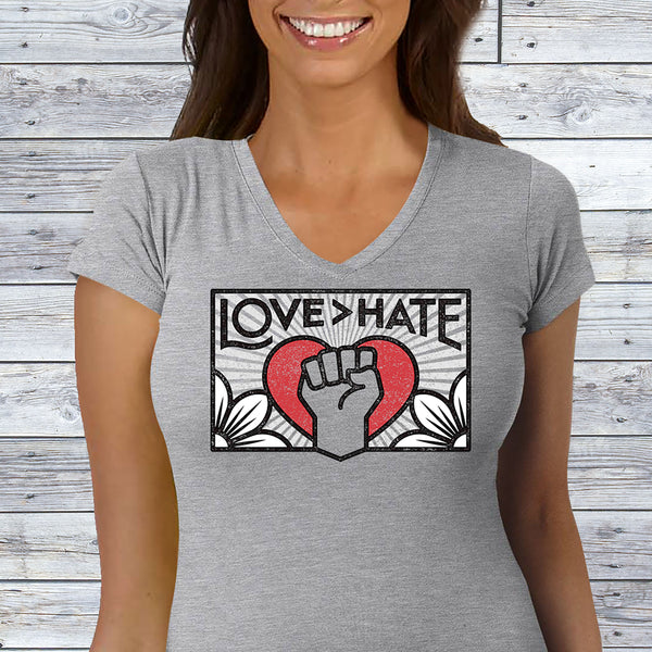 Love>Hate Ladies' Sporty V-Neck T-Shirt