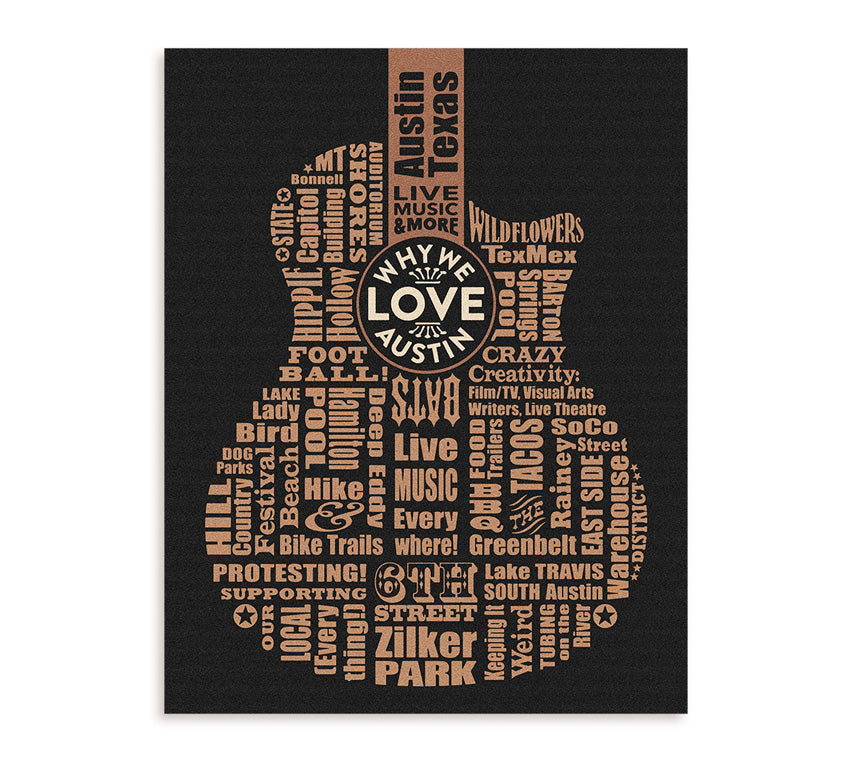 """Why We Love Austin"" 11 x 14 inch Unframed Prints"