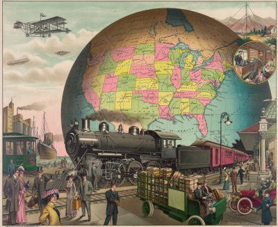 20Th Century Transport Poster 28x36 Trains Planes 24x36 - Fame Collectibles