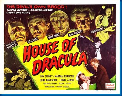 House Of Dracula Quad Style Movie Poster 24x36 - Fame Collectibles