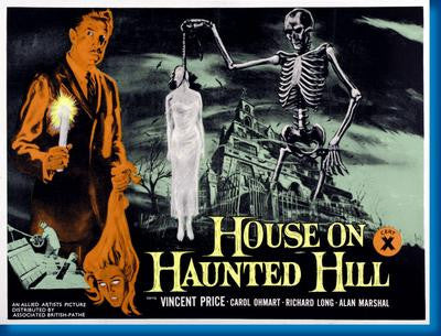House On Haunted Hill Quad Style Movie Poster 24x36 - Fame Collectibles