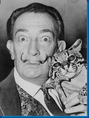 Salvador Dali Cat Bw Poster 24x36 - Fame Collectibles