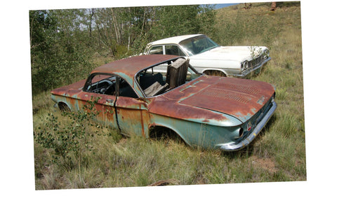 Junkyard Cars Jigsaw Puzzle Choose a Size Corvair rusty Car