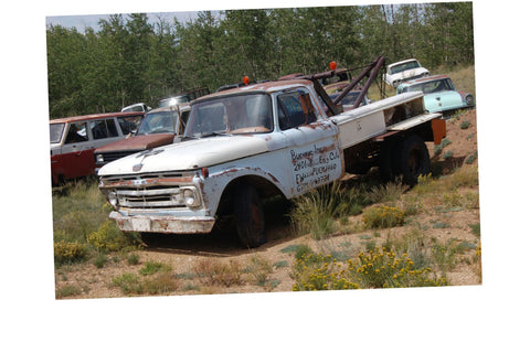 Junkyard Cars Jigsaw Puzzle Choose a size Ford Tow Truck rusty Car