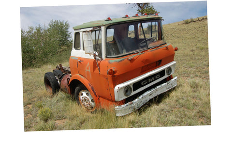 Junkyard Cars Jigsaw Puzzle Choose a Size Red Gmc Cabover Truck