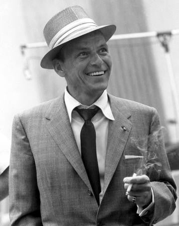 Frank Sinatra Poster Bw Fedora 24x36 - Fame Collectibles