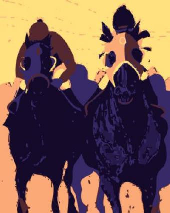 Horse Racing Pop Art Poster 24in x 36in - Fame Collectibles