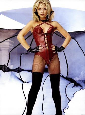 Sarah Michelle Gellar Poster Red Leather Vampy Pic 24x36 - Fame Collectibles
