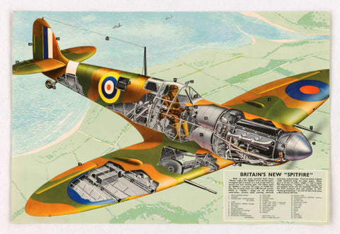 Spitfire Cutaway Aviation Diagram Mouse Pad Mousepad Mouse Mat