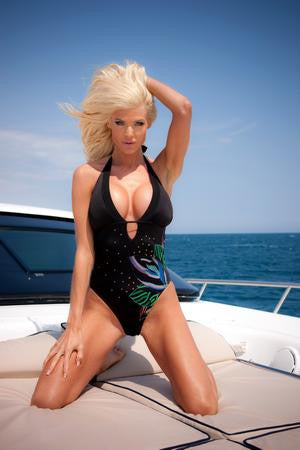 Victoria Silvstedt Poster Low Cut Black Swimsuit 24x36 - Fame Collectibles