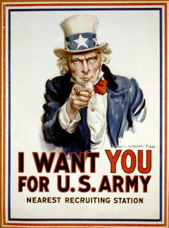 War Propaganda Art Poster Uncle Sam 24x36 - Fame Collectibles