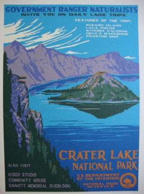 Wpa Crater Lake Poster 27x36 24x36 - Fame Collectibles