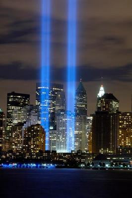 World Trade Center Tribute Lights Wtc Art Poster 24x36 - Fame Collectibles