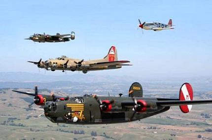 WW2 Airplane Formation Military Aviation Poster 24x36 - Fame Collectibles