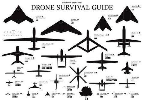 Drones Identification Chart Poster 24Inx36In Poster 24x36 - Fame Collectibles