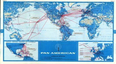 Pan Am 1968 Route Map Mouse Pad Mousepad Mouse mat - Fame Collectibles