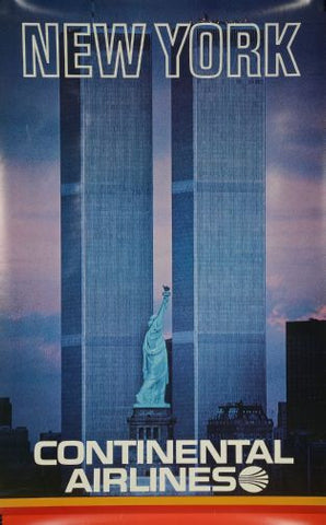 Continental Airlines Ny Twin Towers Poster 24in x36in - Fame Collectibles
