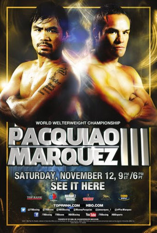 Boxingmanny Pacquiao Vs. Juan Manuel Marquez Poster 24inx36in Poster 24x36 - Fame Collectibles