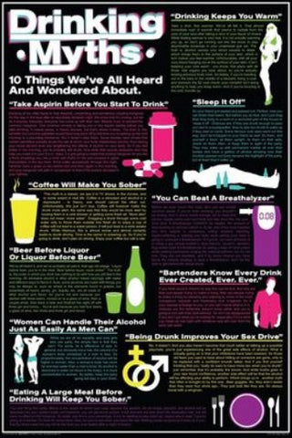 10 Drinking Myths College Humor 24x36 Poster - Fame Collectibles