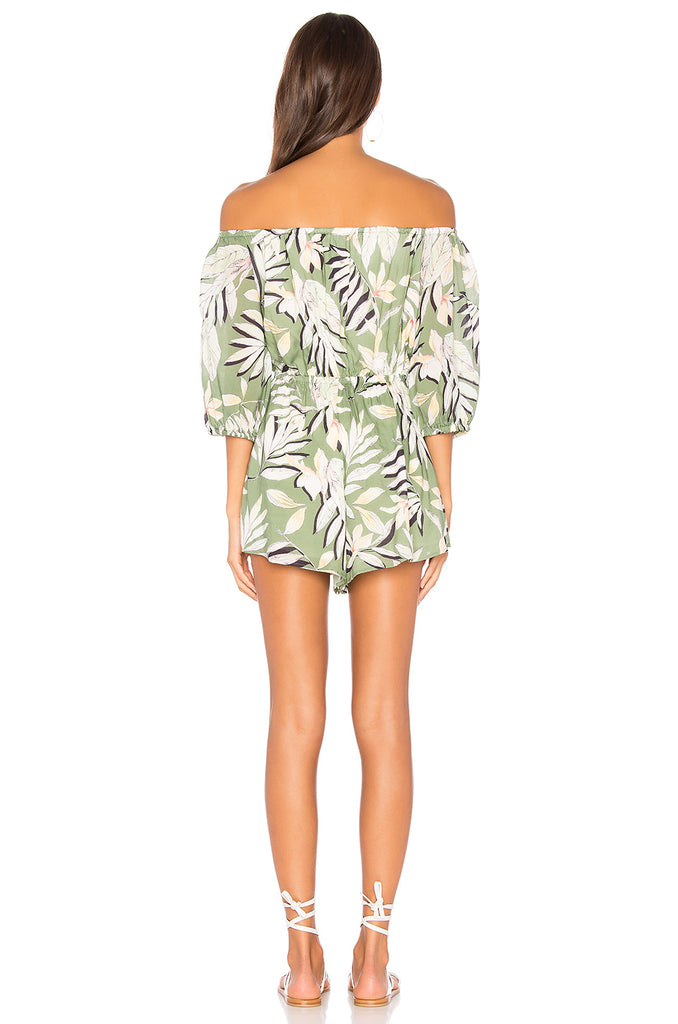 Shady Fronds Off Shoulder Playsuit