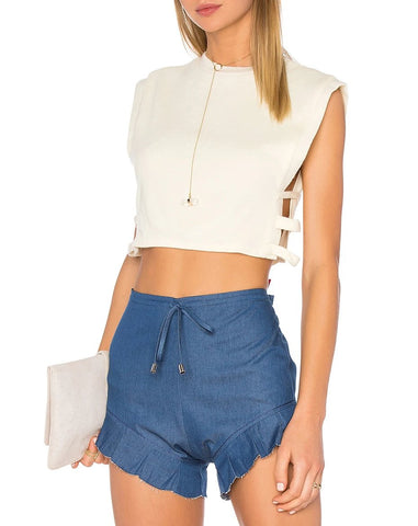 High Waisted Faux Leather Mini Skirt