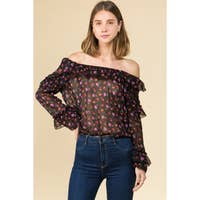 Rose Chiffon Off The Shoulder Ruffled Top