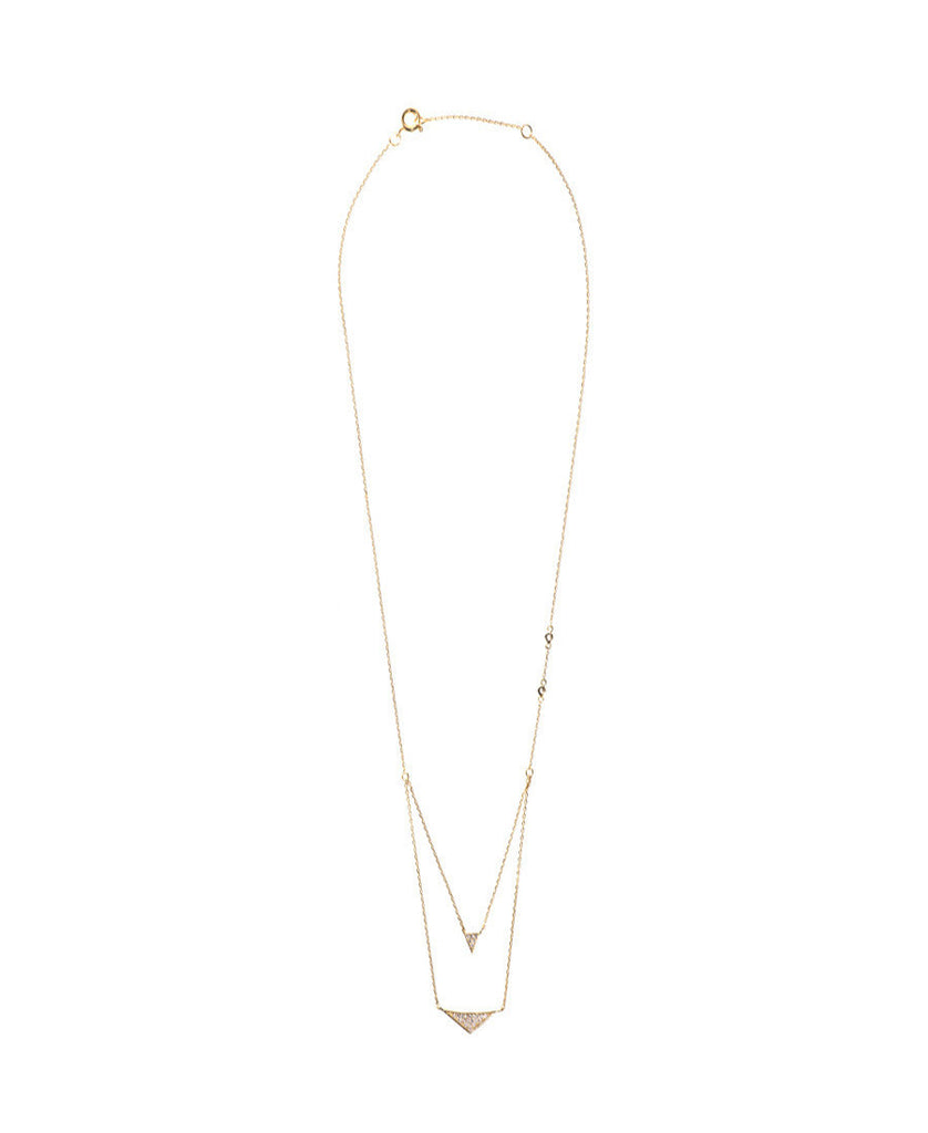 Wanderlust + Co - Tri Pave Layered Gold Necklaces - Surfaced Clothing - 1