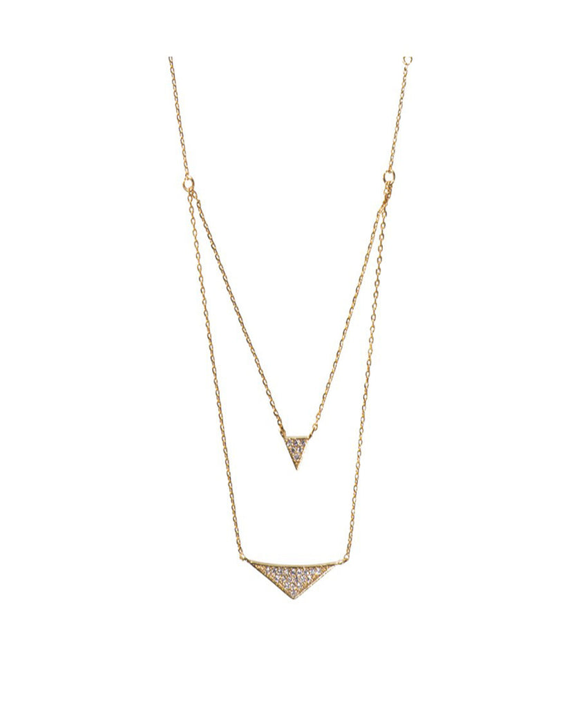 Wanderlust + Co - Tri Pave Layered Gold Necklaces - Surfaced Clothing - 2