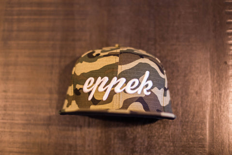 Camo snapback with white 3d embroidered logo