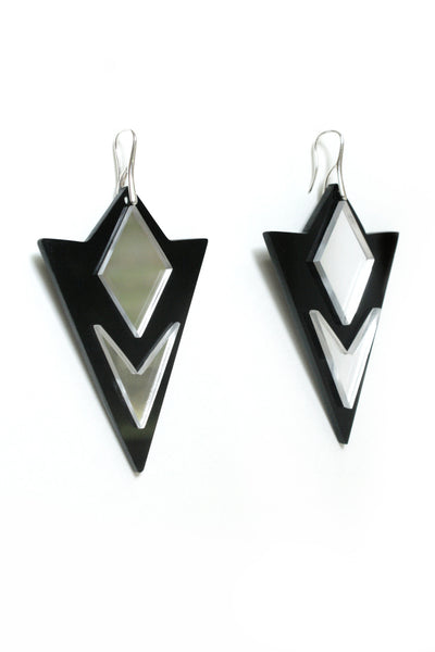 Acrylic Earrings, Black, Mirror Acrylic, Gift For Her, Geometric, Urban Style, Modern. - Enna Jewellery  - 5
