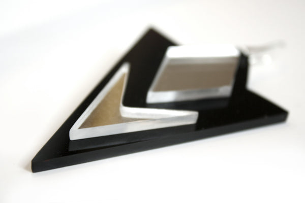 Acrylic Earrings, Perspex Earrings, Black/Mirror, Gift For Her, Geometric - Enna Jewellery - 3