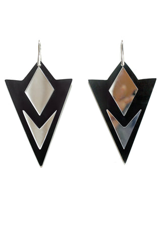 Acrylic Earrings, Perspex Earrings, Black/Mirror Acrylic, Gift For Her, Geometric Earrings - Enna Jewellery - 1