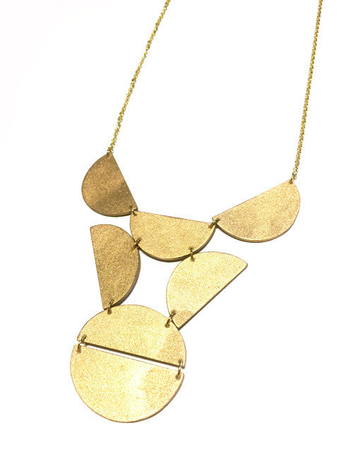 Art Deco Style Chain Necklace by ENNA Golden Geometric Bib Half Circle Necklace