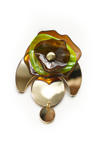 Gold Mirror Acrylic Brooch