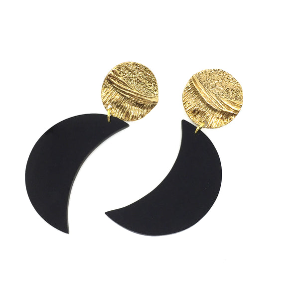 black crescent statement jewellery