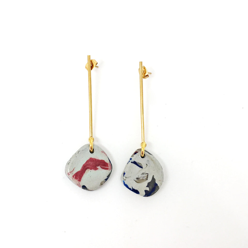 Gold Stick Stud Earrings With Red Recycled Marble Drops