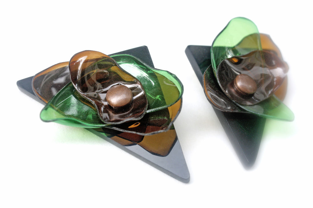 green-and-brown-leaf-triangle-acrylic-earrings