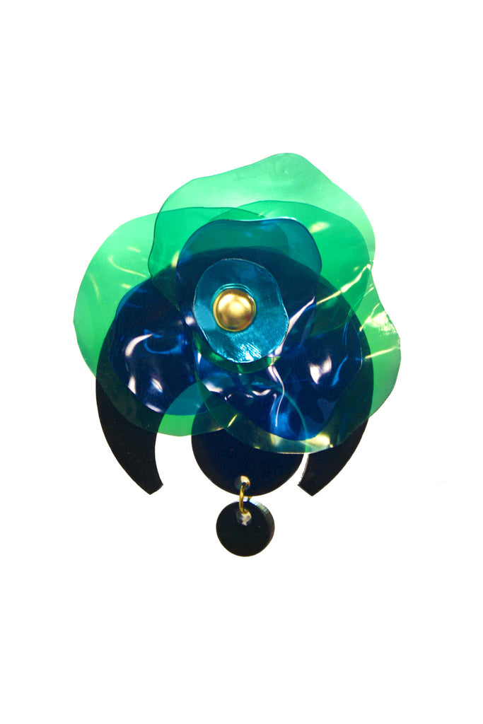 Upcycled Green Flower Brooch