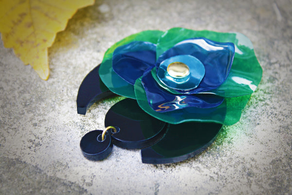 Upcycled Brooch, Handmade Contemporary Brooch, Perspex Green/Blue Brooch by Enna