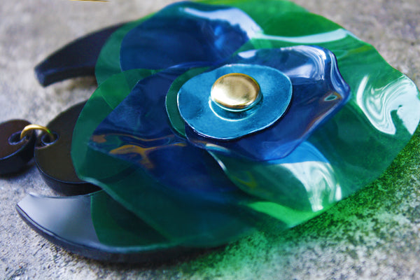 Green Handmade Brooch, Perspex Brooch, by Enna Jewellery - 3