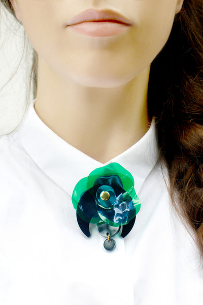 Green/Blue Upcycled Perspex Brooch