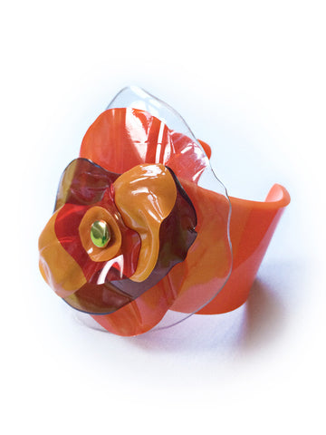 Orange Plastic Bottle Flower Cuff Bracelet